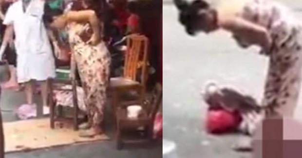 Mujer da a luz en la calle, recoge al bebé y sigue caminando (Video)