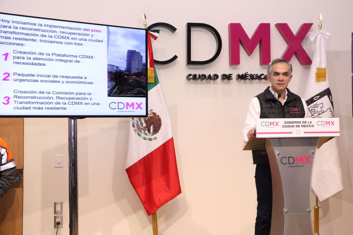 Mancera presenta plan de reconstrucción en CDMX tras sismo