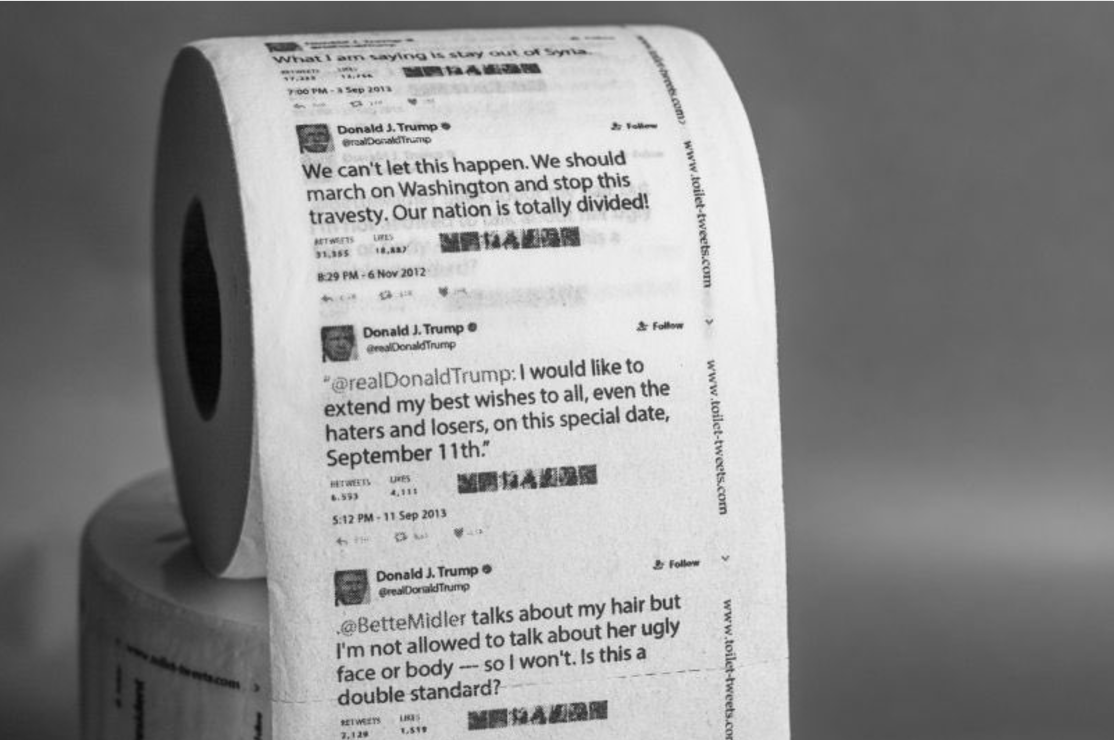 A la venta papel higiénico con los tuits de Trump
